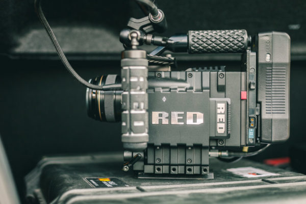 RED Epic camera 5k on a rig with a 85mm lens and monitors