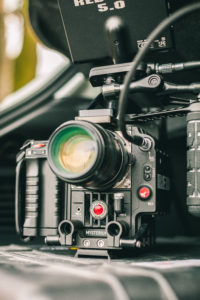 RED Epic camera 5k on a rig with a 28mm lens and monitors